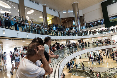 Local residents gather inside the CityPlaza Mall in Taikoo Shing, Hong Kong to sing and hold hands in solidarity. Families with kids, seniors with flip phones, and passionate youth gathered peacefully in protest against what they view as an authoritarian government and an unaccountable police force. November 3, 2019.