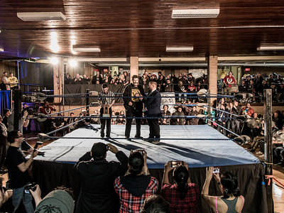 WWE Hall of Famer Mick Foley speaks to the crowd at Greektown Wrestling in Toronto. March 18, 2018.