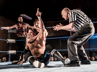 Magnum CK fights off a sleeper hold from Mathieu St-Jacques at Greektown Wrestling in Toronto. March 18, 2018.