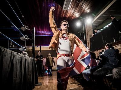 British-born wrestler Freddie Mercurio makes his grand entrance at Greektown Wrestling in Toronto. March 18, 2018.