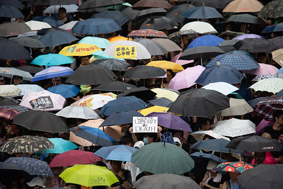 A protester holds up a sign in a sea of umbrellas as thousands of residents participated in an anti-government protest on a rainy Sunday in Hong Kong. August 18, 2019.