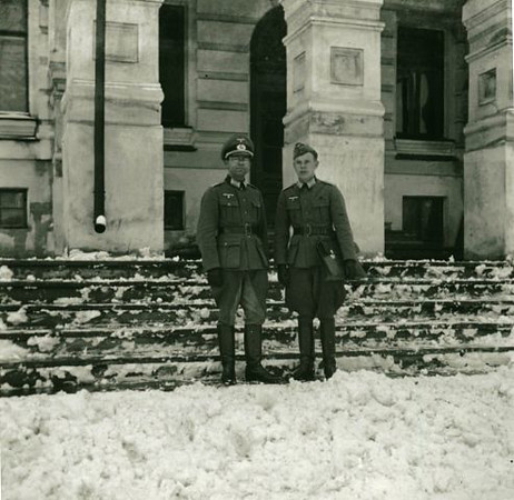 Vitebsk Belarus World War II. German Officer And Aide.