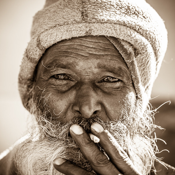 Strengthful portrait of an old man at Ooty.