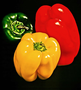 "' Peppers Three '   12""x16"", on Fine Art Paper  or Luster Photo paper (12 mil)"