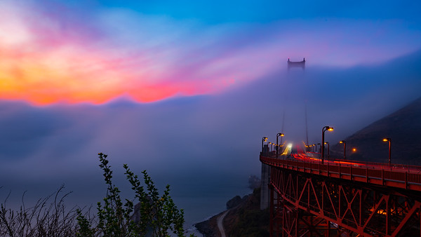 Golden Gate Sunrise in Fog