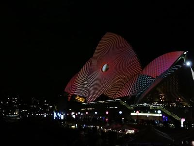 Art projected onto sails of Sydney Opera House - photo by Pam Baker