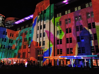 Side view of art projected onto Contemporary Art Museum - photo by Pam Baker