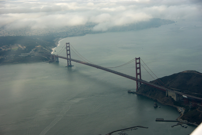Golden Gate Brigde, helaas niet erg rood door de weersomstandigheden