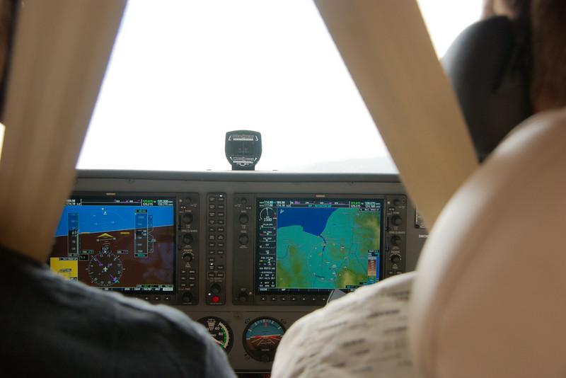 De landing wordt ingezet (dalende rechterbocht)