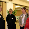From left, Cincinnati Auxiliary Bishop Joseph R. Binzer, Father David Vincent, and Precious Blood Sisters Marla Gibson and Martha Bertke talk at a Martha Dinner on April 8 at St. Denis Parish in Versailles. Father Vincent is pastor of St. Denis.