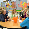Studnets at Mother Teresa Catholic Elementary School talk about vocations. Background from left, Connor Japikse, Luke Meyer and John Sikora. Foreground, Kelsey Eck, Anna Meister, Sheridan Lennartz and Olivia Marklay. Dave Eck photo.