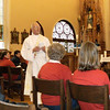 Paul Luthman, a permanent deacon at Sacred Heart Parish in McCartyville, speaks on the diaconate at Maria Stein Center. Deacon Luthman also presided at Benediction of the Blessed Sacrament for the pilgrims.