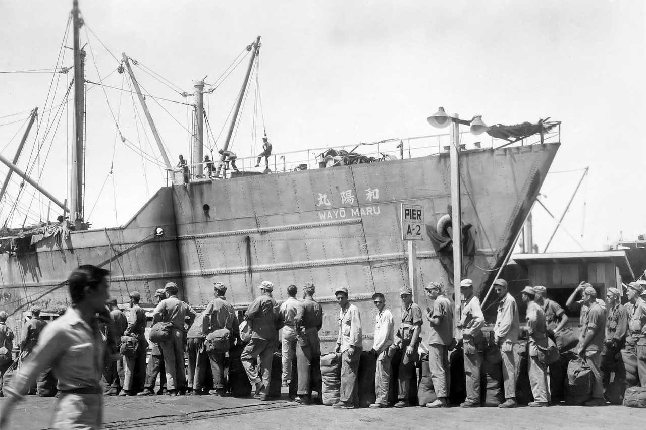 [BP] Saigon Harbor 1946 (on way back from Guam). Here we are loading to leave Saigon