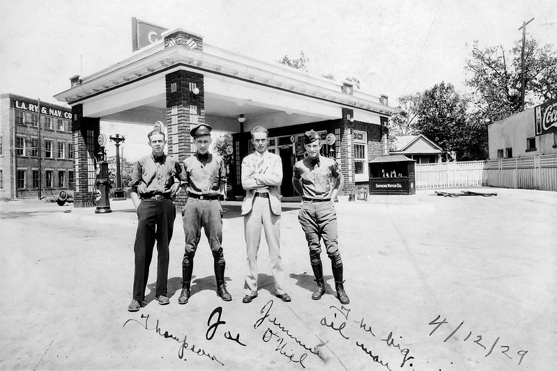 Working at Shreveport Gas Station, 1929