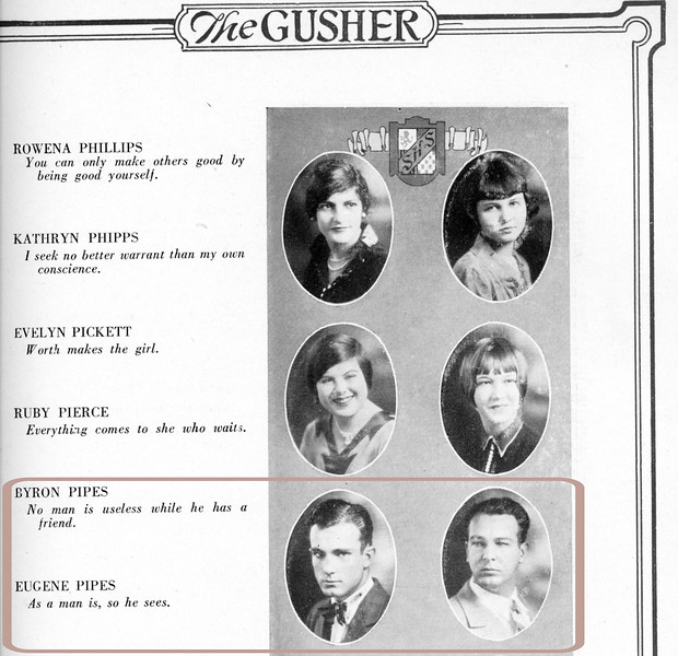 Byron and brother Eugene in the 1928 Byrd High Gusher