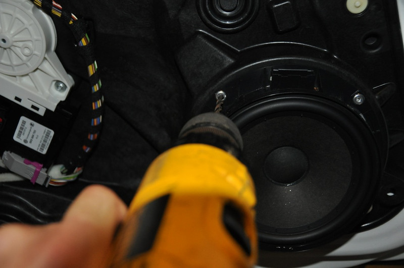 Drilling out rivets on factory speaker