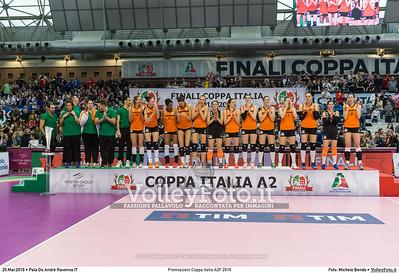 Premiazioni Coppa Italia A2F 2016 PREMIAZIONI FINALE A2 Coppa Italia 2016.  Pala De Andrè Ravenna 20.03.2016. FOTO: Michele Benda © 2016 Volleyfoto.it, all rights reserved [id:20160320.MB2_5952]