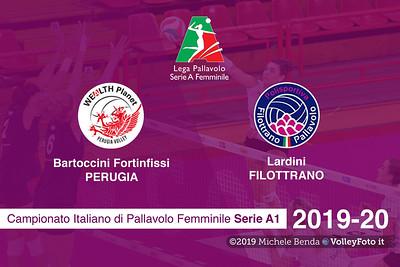 Bartoccini Fortinfissi Perugia vs Lardini Filottrano, 4ª giornata Campionato Italiano di Pallavolo Femminile Serie A1 presso PalaBarton Perugia IT, 31 ottobre 2019. Foto: Michele Benda [riferimento file: 2019-10-31/CoverA1F-A04-]