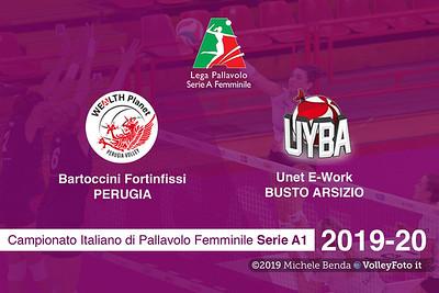 Bartoccini Fortinfissi Perugia vs Unet E-Work Busto Arsizio, 5ª giornata Campionato Italiano di Pallavolo Femminile Serie A1 presso PalaBarton Perugia IT, 31 ottobre 2019. Foto: Michele Benda [riferimento file: 2019-10-31/CoverA1F-A05-]