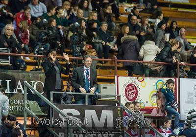 Mirka Francia e Marco Cruciani, voci della telecronaca della partita, salutano il pubblico del PalaEvangelisti