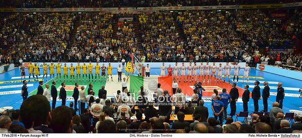 DHL Modena - Diatec Trentino Finale Del Monte® Coppa Italia 2015/16.  Mediolanum Forum Milano, 07.02.2016 FOTO: Michele Benda © 2016 Volleyfoto.it, all rights reserved [id:20160207.MBQ_4735-Pano]