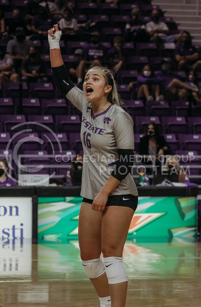 Dru Kuck celebrates a teammates success during an intense set during the Kansas State volleyball game against Iowa State at Bramlage Coliseum on Sept. 26, 2020. (Sophie Osborn | Collegian Media Group)