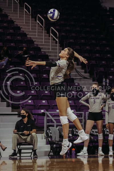 Kadye Ferholz serves the ball during the Kansas State volleyball game against Iowa State at Bramlage Coliseum on Sept. 26, 2020. (Sophie Osborn | Collegian Media Group)
