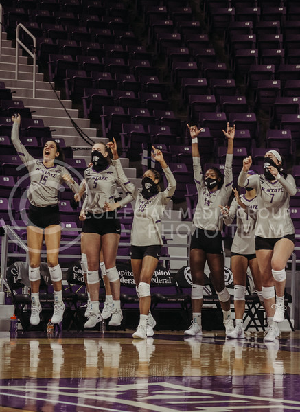 Players on the bench celebrate after an intense point during the Kansas State volleyball game against Iowa State at Bramlage Coliseum on Sept. 26, 2020. (Sophie Osborn | Collegian Media Group)