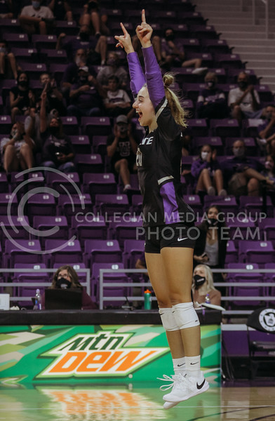 Mackenzie Morris celebrates a point during the Kansas State volleyball game against Iowa State at Bramlage Coliseum on Sept. 26, 2020. (Sophie Osborn | Collegian Media Group)