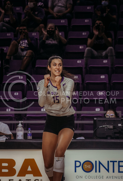 Holle Bonde celebrates a successful point during the Kansas State volleyball game against Iowa State at Bramlage Coliseum on Sept. 26, 2020. (Sophie Osborn | Collegian Media Group)