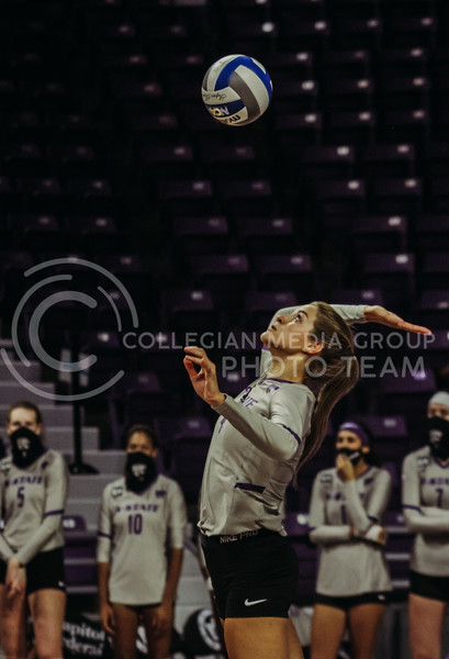 Kadye Ferholz eyes the ball in preparation during the Kansas State volleyball game against Iowa State at Bramlage Coliseum on Sept. 26, 2020. (Sophie Osborn | Collegian Media Group)