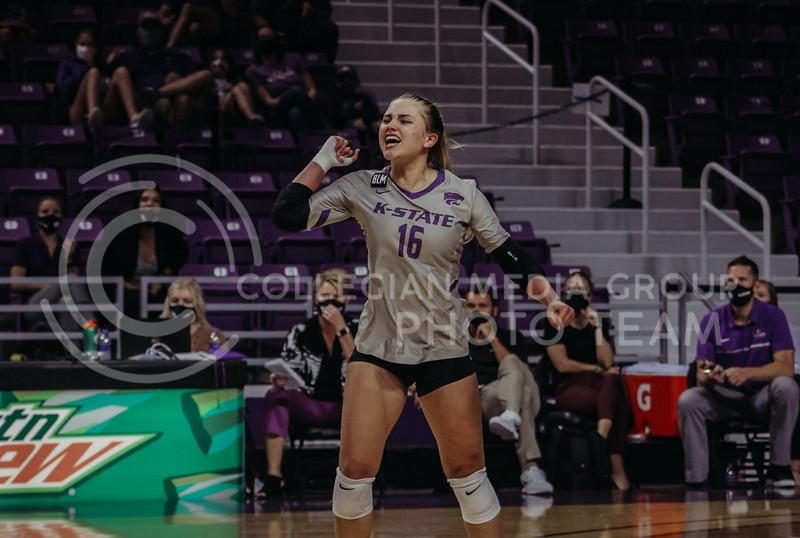 Dru Kuck celebrates during the Kansas State volleyball game against Iowa State at Bramlage Coliseum on Sept. 26, 2020. (Sophie Osborn | Collegian Media Group)