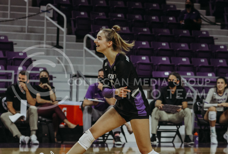 Mackenzie Morris celebrates during the Kansas State volleyball game against Iowa State at Bramlage Coliseum on Sept. 26, 2020. (Sophie Osborn | Collegian Media Group)