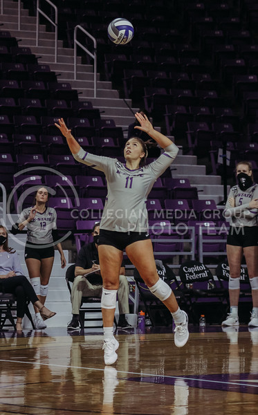 Shelby Martin focuses on the ball while serving during the Kansas State volleyball game against Iowa State at Bramlage Coliseum on Sept. 26, 2020. (Sophie Osborn | Collegian Media Group)