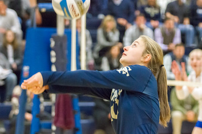 Record-Eagle/Brett A. Sommers Traverse City St. Francis' Hannah Sidorowicz passes the ball during Tuesday's Division 3 quarterfinal volleyball match against Beal City at Cadillac High School. St. Francis won 3-1.