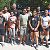 Group photo of the kids and instructors for the last free volleyball clinic at Clemente Park, front L-R, Cash Wilder 8, NadiyahLam 11, Logan Sam 11, Tila Khat-Tek 13, Trisha Chea 13, and Nathan Villa 11, back row;Evan Tu 16,  Akyli Phea 13, Vannak Kong (instructor), Noeumn Chhim mom, Anthony Villa 17, Curtis Chanthaboun 14, and Chris Wilder 12, SUN/David H. Brow