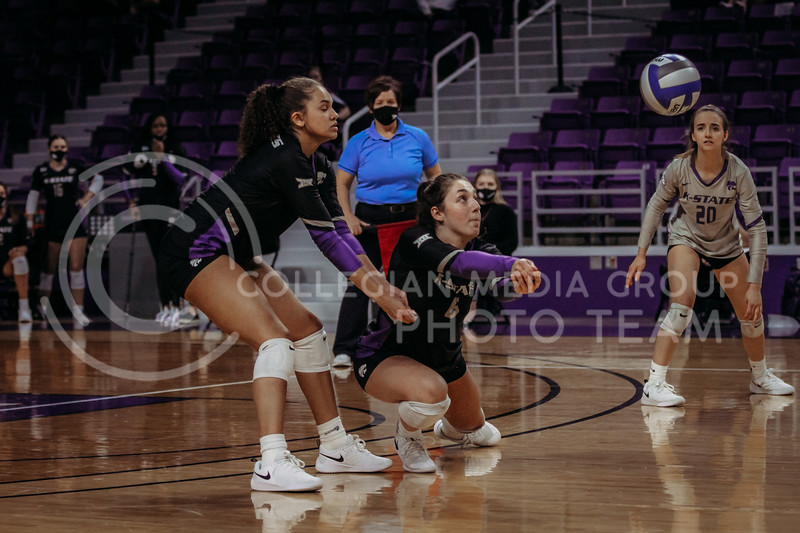 Junior Jacque Smith gets ready to pass the ball during the March 20, 2021 Senior Night game against Creighton at Bramlage Stadium. (Sophie Osborn   Collegian Media Group)
