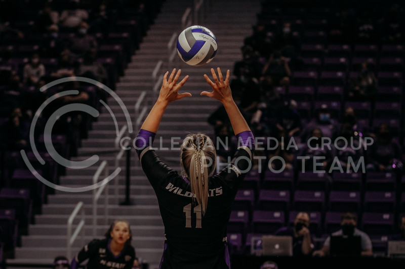 Senior setter Shelby Martin sets the ball up for a teammate during the March 20, 2021 Senior Night game against Creighton at Bramlage Stadium. (Sophie Osborn   Collegian Media Group)