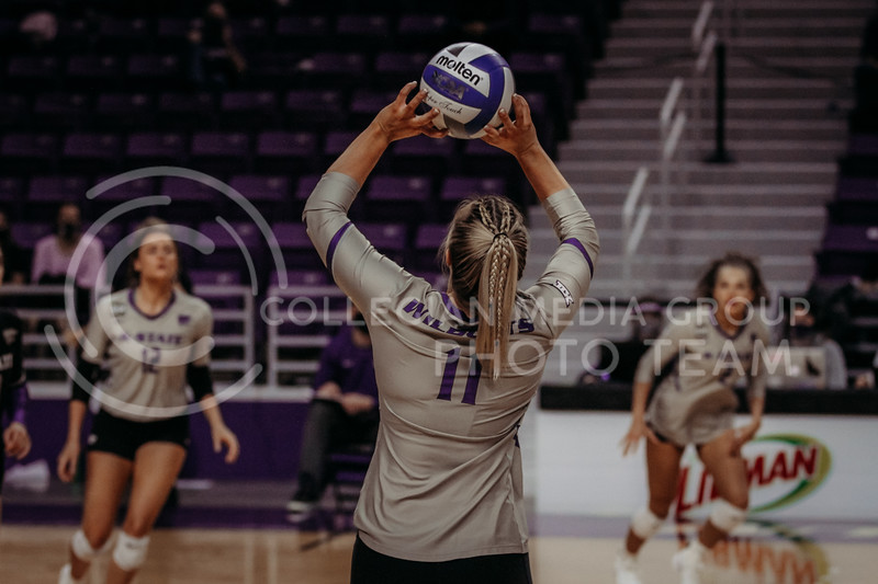 Senior setter Shelby Martin sets the ball up for a teammate during the March 14, 2021 volleyball game against Saint Louis University. (Sophie Osborn   Collegian Media Group)
