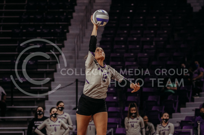 Sophomore Loren Hinkle hits the ball during the March 14, 2021 volleyball game against Saint Louis University. (Sophie Osborn   Collegian Media Group)