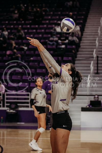 Sophomore Holly Bonde works to hit a quick return during the March 14, 2021 volleyball game against Saint Louis University. (Sophie Osborn   Collegian Media Group)