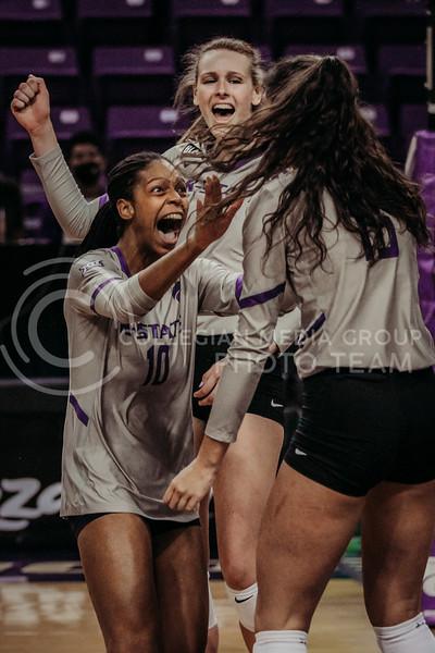 Freshman Jayden Nembhard celebrates a successful hit during the March 14, 2021 volleyball game against Saint Louis University. (Sophie Osborn   Collegian Media Group)