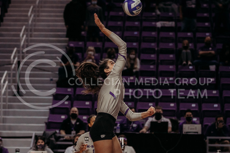 Sophomore hitter Holly Bonde spikes the ball during the March 14, 2021 volleyball game against Saint Louis University. (Sophie Osborn   Collegian Media Group)