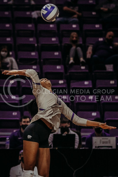 Freshman Jayden Nembhard concentrates as she prepares to hit the ball during the March 14, 2021 volleyball game against Saint Louis University. (Sophie Osborn   Collegian Media Group)