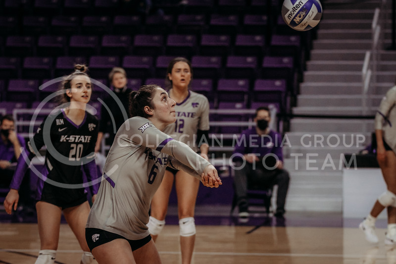 Junior Jacque Smith eyes the ball in preparation during the March 14, 2021 volleyball game against Saint Louis University. (Sophie Osborn   Collegian Media Group)