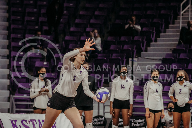 Sophomore middle blocker Kayley Hollywood focuses before serving during the game against Texas Christian University on Nov. 13, 2020. (Sophie Osborn | Collegian Media Group)