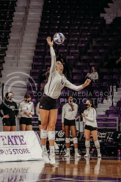 Sophomore Holy Bonde serves the ball during the game against Texas Christian University on Nov. 13, 2020. (Sophie Osborn | Collegian Media Group)