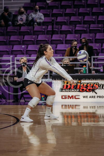 Junior defensive specialist Jacque Smith passes the ball during the game against Texas Christian University on Nov. 13, 2020. (Sophie Osborn | Collegian Media Group)