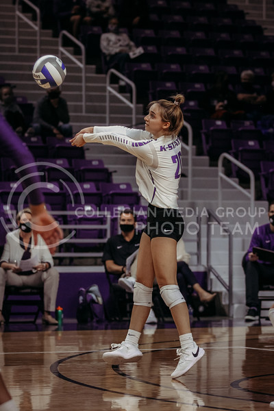 Freshman libero Mackenzie Morris passes the ball during the Nov. 14, 2020 game against Texas Christian University. (Sophie Osborn | Collegian Media Group)