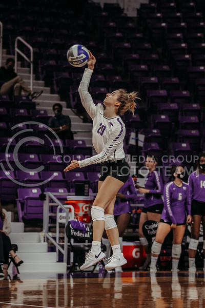 Freshman libero Mackenzie Morris serves the ball during the Nov. 14, 2020 game against Texas Christian University. (Sophie Osborn | Collegian Media Group)